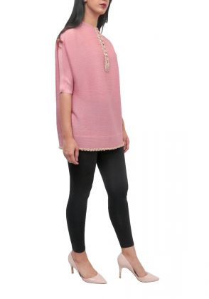 Nine Buckle Tunic in Baby Pink by Adagio Couture by SA