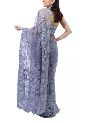 Grey Over All Work Saree by Nergisse n Veera