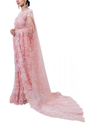 Peach Pink Over All Saree by Nergisse n Veera