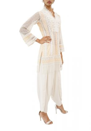 Peach And White Chicken Pearl Embellished Fringe Kurta by MESH by Ayesha Ghani