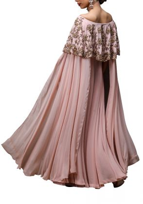 Pink  Off-Shoulder Frill Bodice Dress by Mariyam D. Rizwan