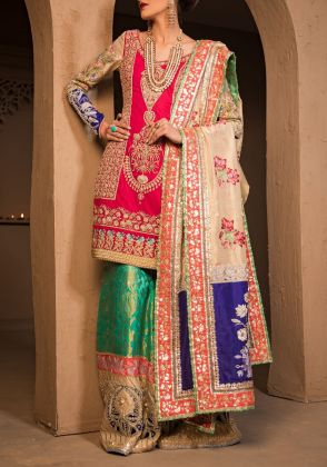 Pink Velvet Sharara Set by The House of Kamiar Rokni