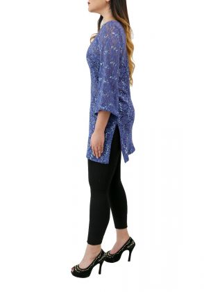 Blue Poncho Chantilly Lace Top by Bibi couture
