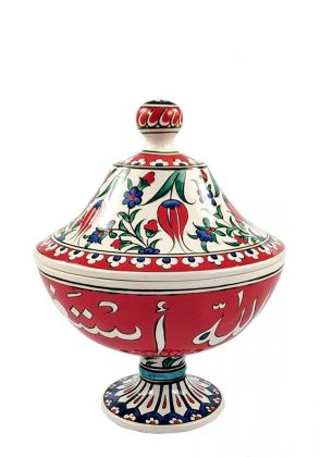 Handmade Red & White Confectionery Pot by Poetic Strokes