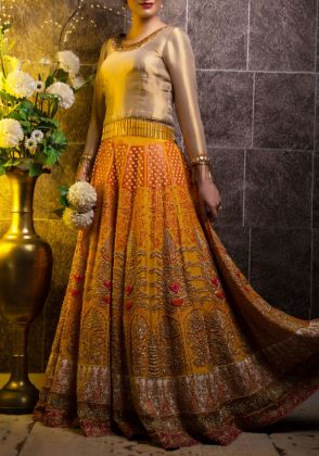 Raw Silk Bridal Lehenga by Zohaib Qadeer