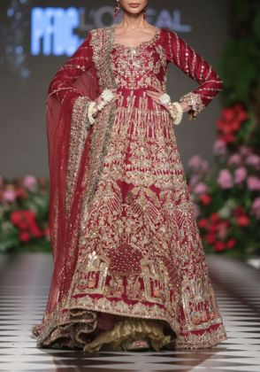 Red Anarkali Bridal by Ivy Couture