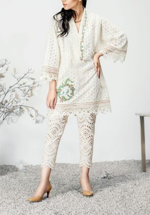 Ringa Rose- 1 Piece Chikan Tunic by Farida Hasan