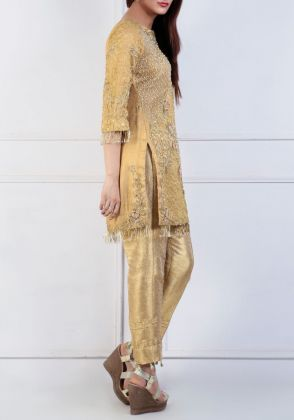 Self Organza Straight Shirt by Zohaib Qadeer
