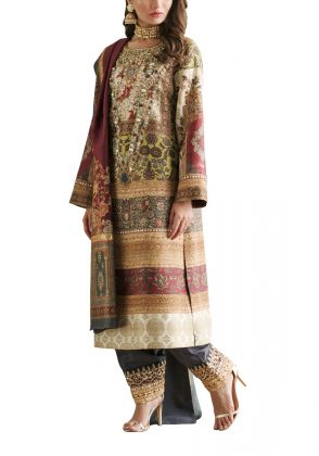 Pure Silk Kurta with Antique Pearls by Shamaeel