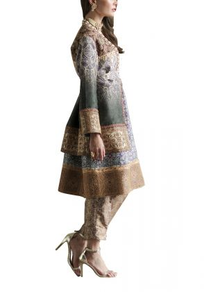 Pure Silk Front Open Jacket  by Shamaeel