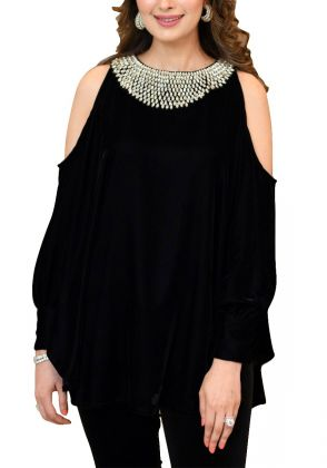Shoulder Cut Velvet Top by A La Pakistan
