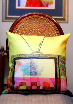 Teleplay Cushion Cover by Mina Siddique