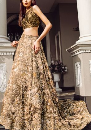 Three Piece Bridal Organza Dress by Hajra Hayat