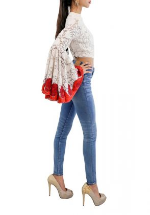 White Heavy Embroidered Crop Top by Sana Sheikh