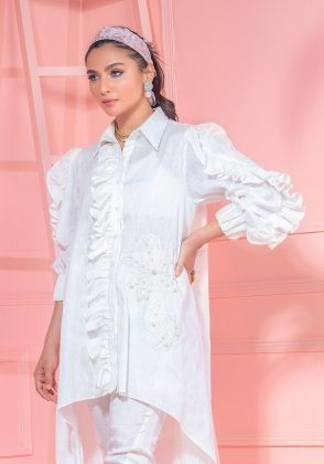 White High Low Shirt With Heavy Frill Detail & Floral Embroidered Motif by Wardha Saleem