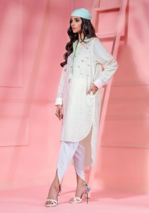 Multi Color Blocked Kurta With Pearl And 3d Floral & Dragon Fly Embellishment by Wardha Saleem