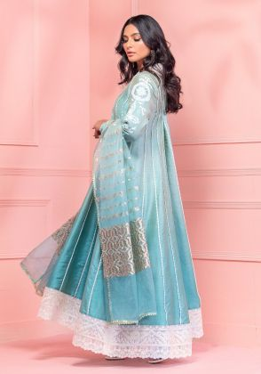 Teal Green Ombre  Pishwas With Pants & Dupatta  by Wardha Saleem