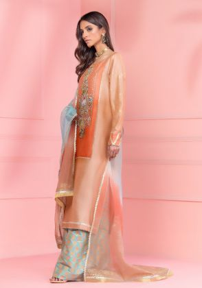 Coral And Sea Green Embroidered Shirt With Pants & Dupatta by Wardha Saleem