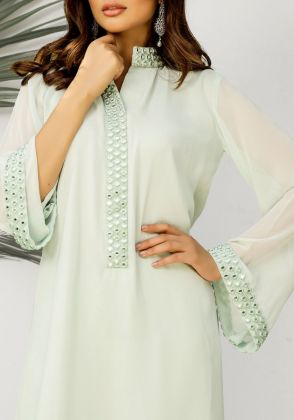 Yasmin-Peppermint Green mirror worked neckline and sleeves (two piece set) by Natasha Kamal