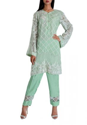 2 Piece Mint Green Self Organza Suit With Embroidery  by Maheen Taseer | MGT