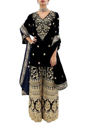 3 Piece Blue Velvet suit with Heavy Gold Embroidery by Eziz
