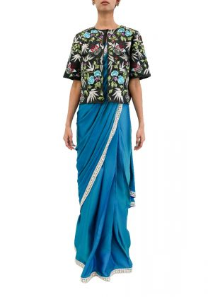 3 Piece Ready Made Saree With Jacket In Bluish Green by Nergisse n Veera