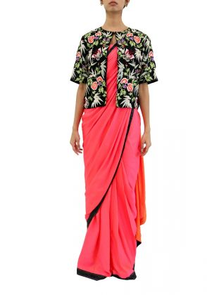 3 Piece Ready Made Saree With Jacket In Shocking Pink by Nergisse n Veera