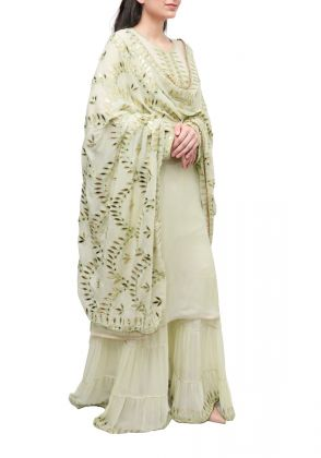3 Piece Light Green semistitched suit by Begum's