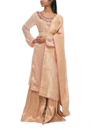 3 Piece Peach semistitched suit by Begum's