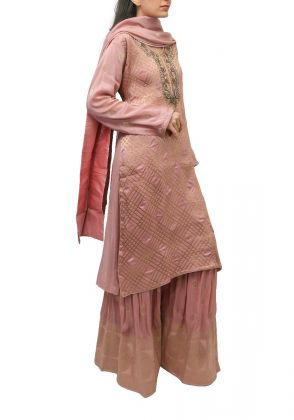 3 Piece Pink semistitched suit by Begum's