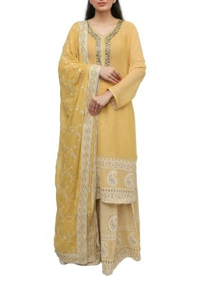 3 Piece Yellow semistitched suit by Begum's