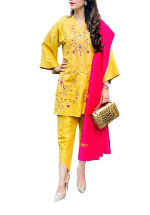 Yellow 3 Piece Suit by A La Pakistan