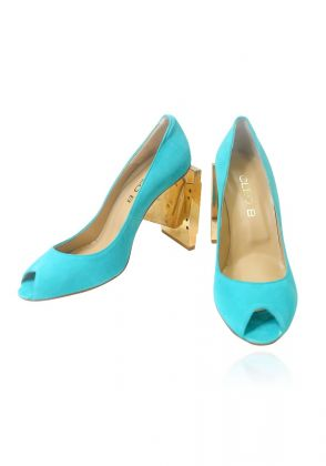 Turquoise Cleo B cassette heels  by Amia's