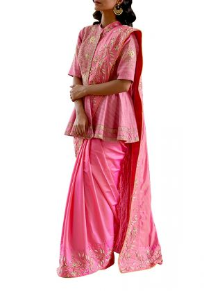 Aradhya Saree with Jacket by Rashika Sharma