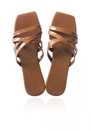 Brown Criss Cross Slides by Basic by Chapter13