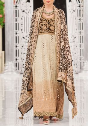 Beige embroidered 3 piece set by Dareaab