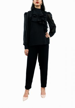 Black High Neck Layered Ruffle Blouse by Vanya