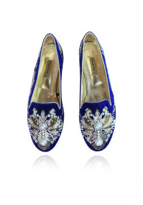 Blue Hand Embroidered Loafer by Chapter 13
