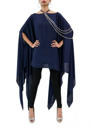 Blue drape shirt with embellished chain by Reése