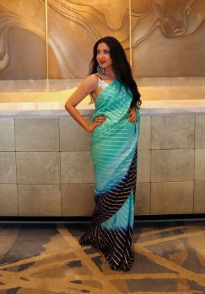 Embellished Blue Ombre Saree by Boulevard One Designs