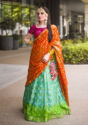 Green Ombre Bandhani Semi Stitched Lehenga 3pc by Boulevard One Designs