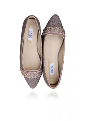 Brown Glitter flats by Basic by Chapter13
