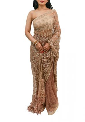Brown Net Saree by Nergisse n Veera