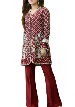 Burgundy hand crafted by A La Pakistan