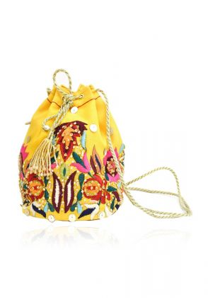 Yellow Velvet Potli Bag by Chapter 13