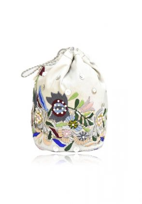 White Velvet Potli Bag by Chapter 13