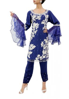 Cotton Net Shirt With All Handwork And Organza Ruffle Sleeves by Zainab & Noor