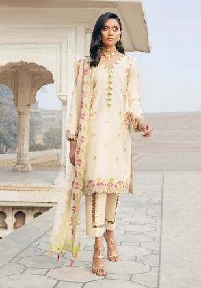 Cream Embroidred Unstitched Suit  by Panachē Luxury Lawn