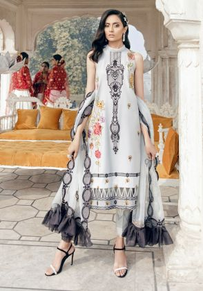 Grey  Embroidered Unstitched Suit  by Panachē Luxury Lawn
