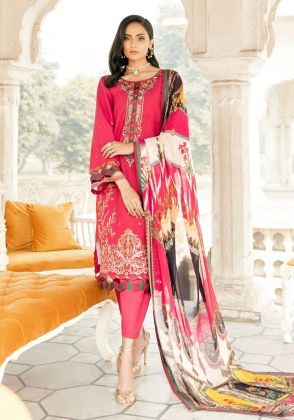Pink Embroidred Unstitched Suit  by Panachē Luxury Lawn